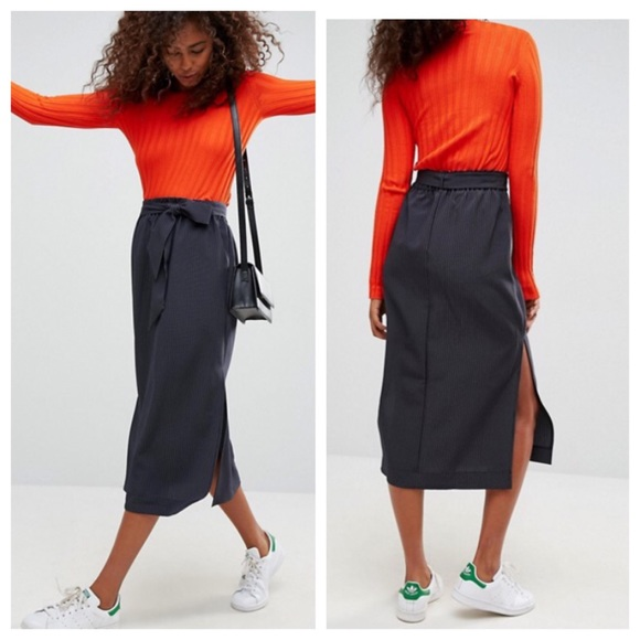 ff9d62f4b ASOS Dresses & Skirts - ASOS Paper Bag Waist Split Side Midi Skirt
